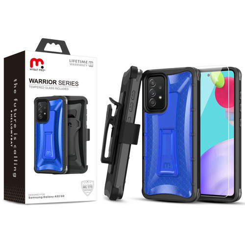 MyBat Pro Warrior Series Case with Holster and Tempered Glass for Samsung Galaxy A52 5G - Blue