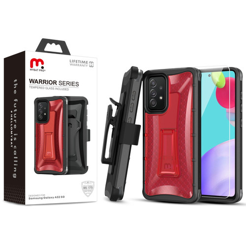 MyBat Pro Warrior Series Case with Holster and Tempered Glass for Samsung Galaxy A52 5G - Red