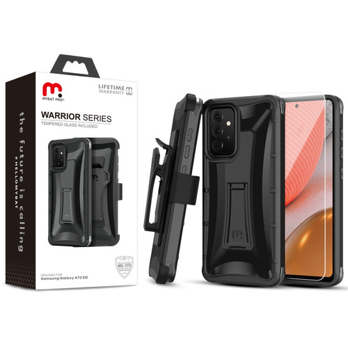 MyBat Pro Warrior Series Case with Holster and Tempered Glass for Samsung Galaxy A72 5G - Black