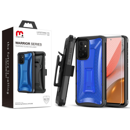 MyBat Pro Warrior Series Case with Holster and Tempered Glass for Samsung Galaxy A72 5G - Blue