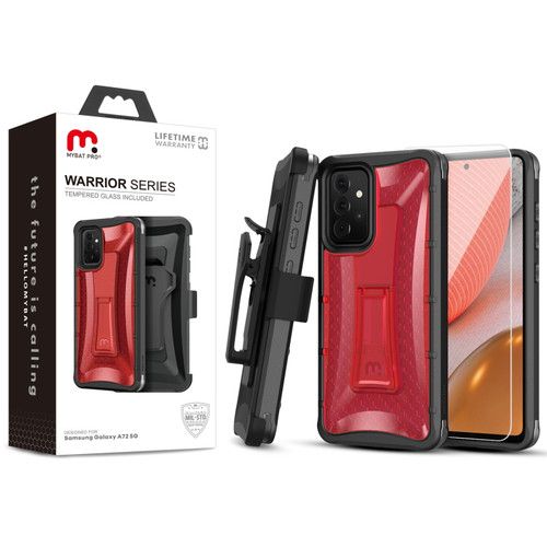 MyBat Pro Warrior Series Case with Holster and Tempered Glass for Samsung Galaxy A72 5G - Red