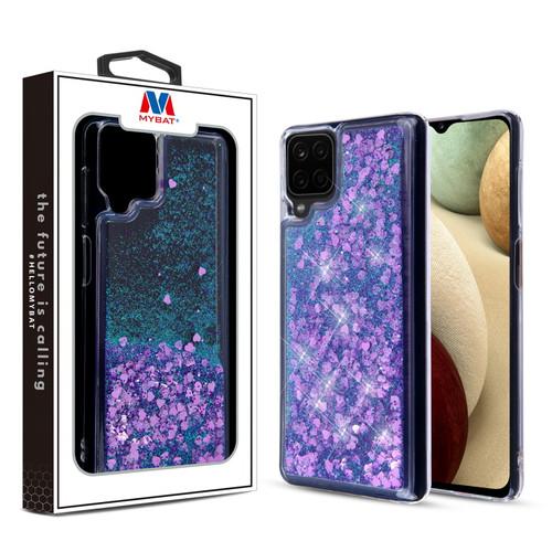 MyBat Quicksand Glitter Hybrid Protector Cover for Samsung Galaxy A12 - Hearts & Purple