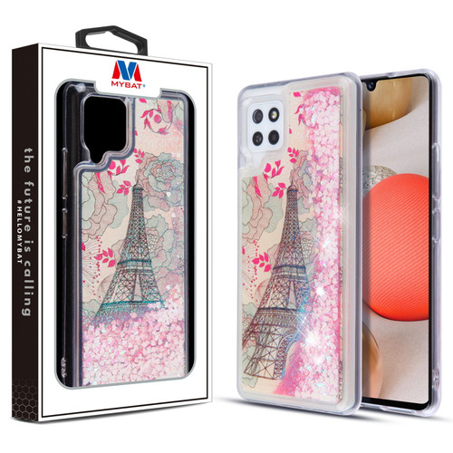 MyBat Quicksand Glitter Hybrid Protector Cover for Samsung Galaxy A42 5G - Eiffel Tower & Pink Hearts