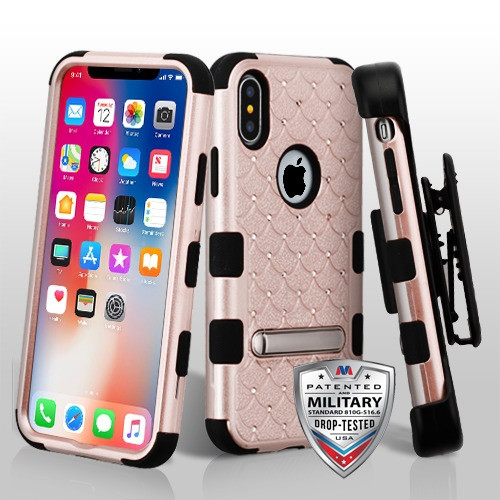 MyBat Rose Gold/Black FullStar TUFF Hybrid Protector Cover (with Magnetic Metal Stand)[Military-Grade Certified](with Black Horizontal Holster)