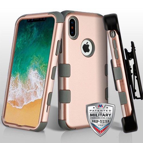MyBat Rose Gold/Iron Gray TUFF Hybrid Phone Protector Cover [Military-Grade Certified](with Black Horizontal Holster)