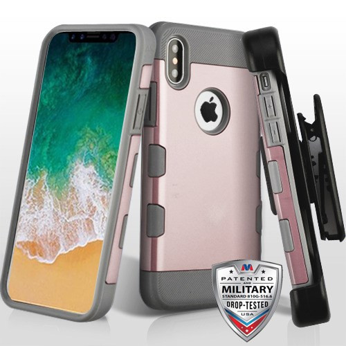 MyBat Rose Gold/Iron Gray TUFF Trooper Hybrid Protector Cover [Military-Grade Certified](with Black Horizontal Holster)