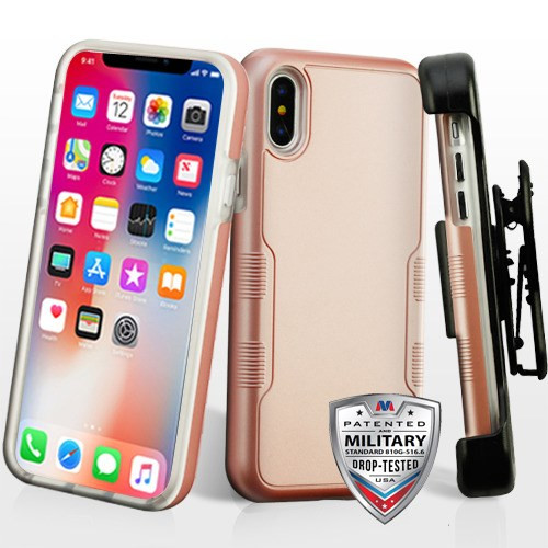 MyBat Rose Gold/Transparent Clear TUFF Contempo Hybrid Protector Cover [Military-Grade Certified](with Black Horizontal Holster)
