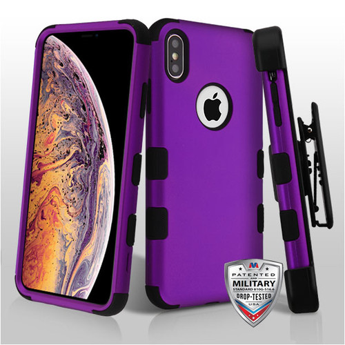 MyBat Rubberized Grape/Black TUFF Hybrid Phone Protector Cover [Military-Grade Certified](with Black Horizontal Holster)