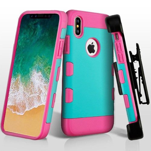 MyBat Rubberized Teal Green/Electric Pink TUFF Trooper Hybrid Protector Cover [Military-Grade Certified](with Black Horizontal Holster)