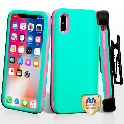 MyBat Rubberized Teal Green/Electric Pink VERGE Hybrid Protector Cover [New Improved Design](with Black Horizontal Holster)