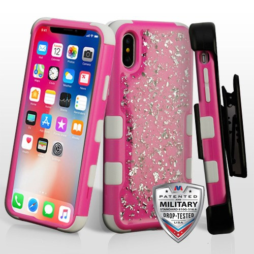 MyBat Silver Flakes (Natural Hot Pink)/Solid White TUFF Krystal Gel Hybrid Protector Cover [Military-Grade Certified](with Black Horizontal Holster)