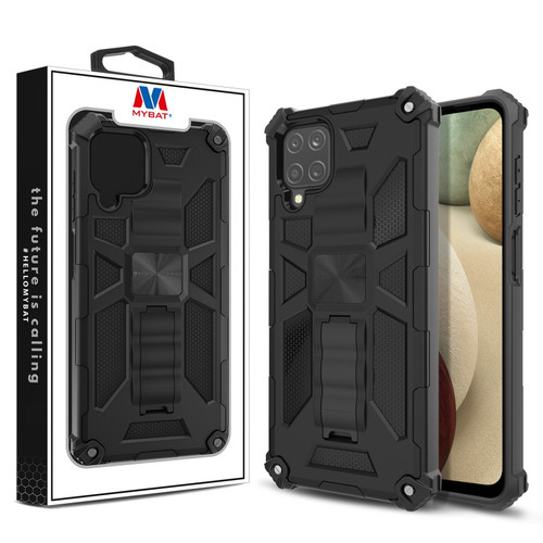 MyBat Sturdy Hybrid Protector Cover (with Stand) for Samsung Galaxy A12 - Black / Black