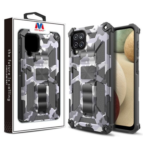 MyBat Sturdy Hybrid Protector Cover (with Stand) for Samsung Galaxy A12 - Gray Camouflage / Black