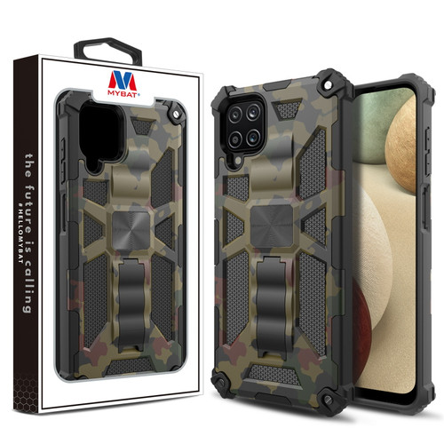 MyBat Sturdy Hybrid Protector Cover (with Stand) for Samsung Galaxy A12 - Green Camouflage / Black