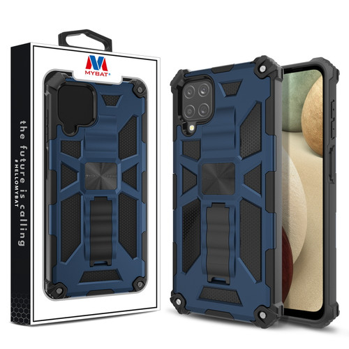 MyBat Sturdy Hybrid Protector Cover (with Stand) for Samsung Galaxy A12 - Ink Blue / Black