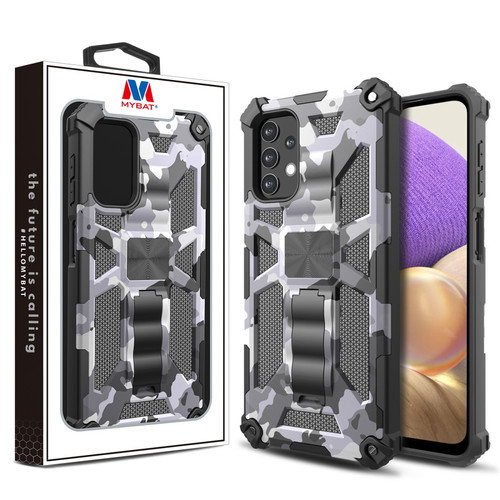 MyBat Sturdy Hybrid Protector Cover (with Stand) for Samsung Galaxy A32 5G - Gray Camouflage / Black