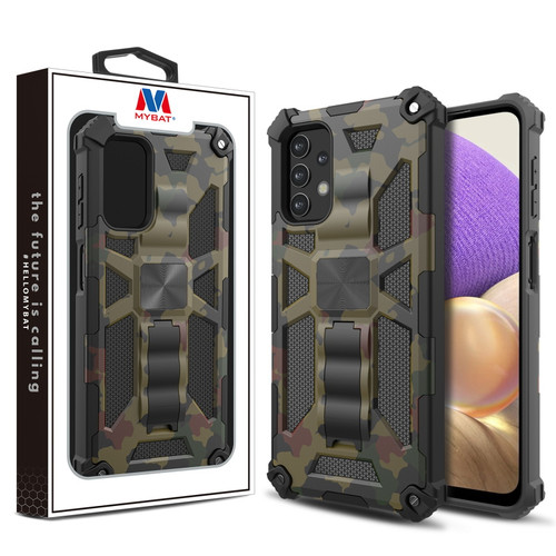 MyBat Sturdy Hybrid Protector Cover (with Stand) for Samsung Galaxy A32 5G - Green Camouflage / Black