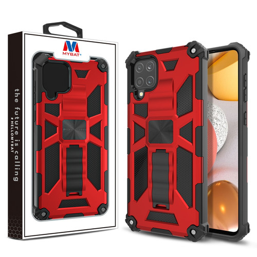 MyBat Sturdy Hybrid Protector Cover (with Stand) for Samsung Galaxy A42 5G - Red / Black