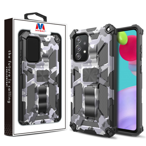 MyBat Sturdy Hybrid Protector Cover (with Stand) for Samsung Galaxy A52 5G - Gray Camouflage / Black