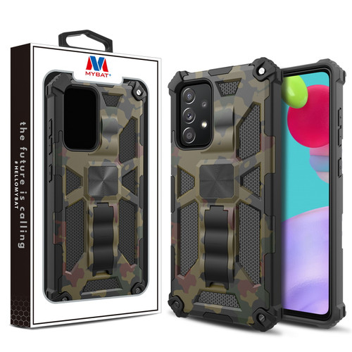 MyBat Sturdy Hybrid Protector Cover (with Stand) for Samsung Galaxy A52 5G - Green Camouflage / Black