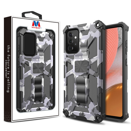 MyBat Sturdy Hybrid Protector Cover (with Stand) for Samsung Galaxy A72 5G - Gray Camouflage / Black