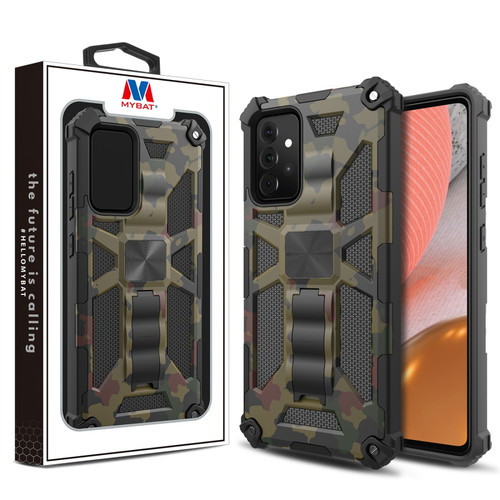 MyBat Sturdy Hybrid Protector Cover (with Stand) for Samsung Galaxy A72 5G - Green Camouflage / Black