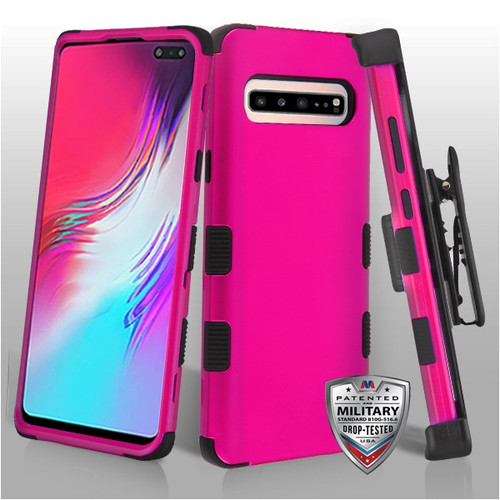 MyBat Titanium Solid Hot Pink/Black TUFF Hybrid Protector Cover [Military-Grade Certified](with Black Horizontal Holster)