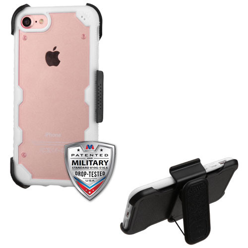 MyBat Transparent Clear/Solid White FreeStyle Challenger Hybrid Protector Cover Combo [Military-Grade Certified](with Black Horizontal Holster)