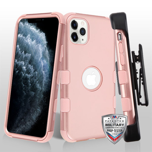 MyBat TUFF Series Case (with Black Horizontal Holster) for Apple iPhone 11 Pro - Rose Gold / Rose Gold