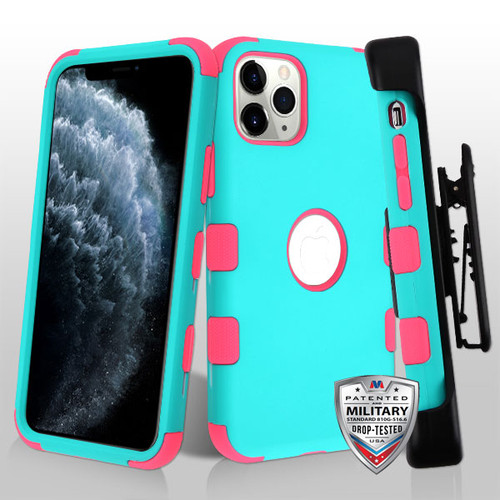 MyBat TUFF Series Case (with Black Horizontal Holster) for Apple iPhone 11 Pro - Rubberized Teal Green / Electric Pink