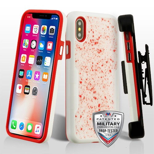 MyBat Red Flakes (Natural Ivory White)/Red TUFF Contempo Hybrid Protector Cover (with Black Horizontal Holster)