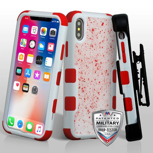 MyBat Red Flakes (Natural Ivory White)/Red TUFF Krystal Gel Hybrid Protector Cover [Military-Grade Certified](with Black Horizontal Holster)