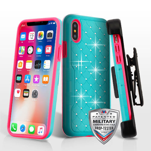 MyBat Teal Green/Electric Pink FullStar TUFF Contempo Hybrid Protector Cover (with Black Horizontal Holster)