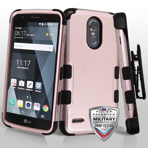 MyBat Textured Rose Gold/Black TUFF Hybrid Protector Cover [Military-Grade Certified](with Black Horizontal Holster)