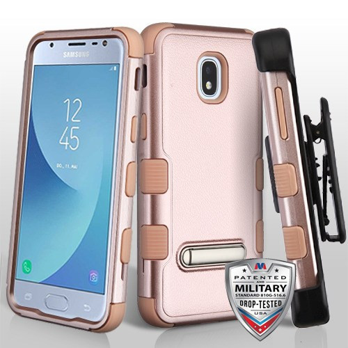 MyBat Textured Rose Gold/Rose Gold TUFF Hybrid Protector Cover (with Magnetic Metal Stand)[Military-Grade Certified](with Black Horizontal Holster)