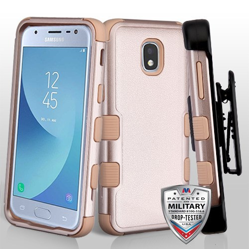 MyBat Textured Rose Gold/Rose Gold TUFF Hybrid Protector Cover [Military-Grade Certified](with Black Horizontal Holster)