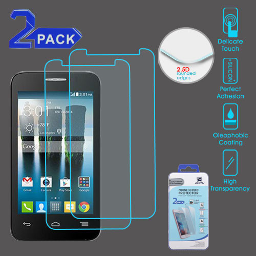 """Asmyna Tempered Glass Screen Protector (2.5D)(2-pack) for Alcatel Fierce 4/Pop 4+ (5.5"""") / 5056 (One Touch Allura) - Clear"""