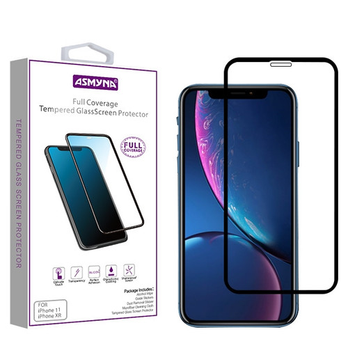 Asmyna Full Coverage Tempered Glass Screen Protector for Apple iPhone 11 / XR - Black