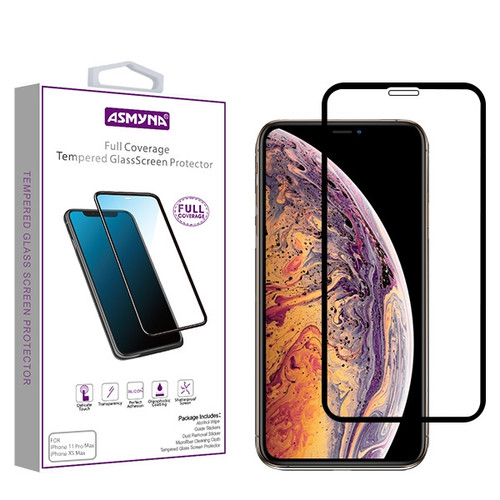 Asmyna Full Coverage Tempered Glass Screen Protector for Apple iPhone 11 Pro Max / XS Max - Black