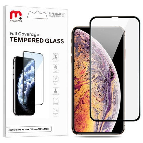 MyBat Pro Full Coverage Tempered Glass Screen Protector for Apple iPhone 11 Pro Max / XS Max - Black
