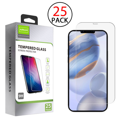Airium Tempered Glass Screen Protector (2.5D)(25-pack) for Apple iPhone 12 (6.1) / 12 Pro (6.1) - Clear