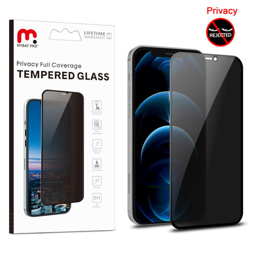 MyBat Pro Privacy Full Coverage Tempered Glass Screen Protector for Apple iPhone 12 (6.1) / 12 Pro (6.1) - Black