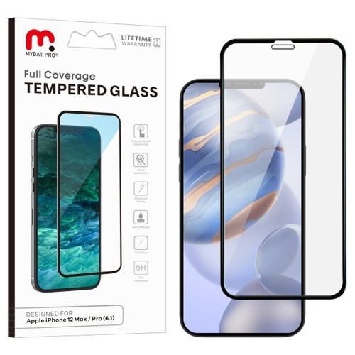 MyBat Pro Full Coverage Tempered Glass Screen Protector for Apple iPhone 12 (6.1) / 12 Pro (6.1) - Black