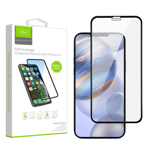 Airium Full Coverage Tempered Glass Screen Protector for Apple iPhone 12 (6.1) / 12 Pro (6.1) - Black