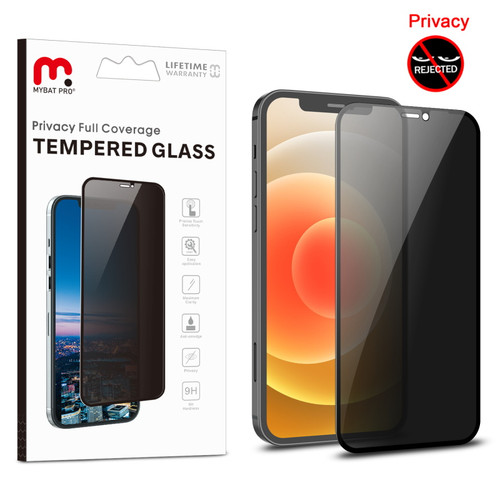 MyBat Pro Privacy Full Coverage Tempered Glass Screen Protector for Apple iPhone 12 mini (5.4) - Black