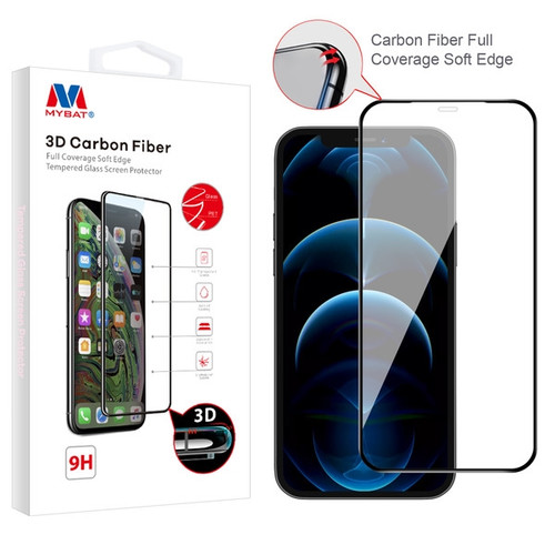 MyBat 3D Carbon Fiber Full Coverage Soft Edge Tempered Glass Screen Protector for Apple iPhone 12 Pro (6.1) / 12 (6.1) - Black