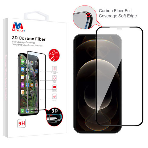 MyBat 3D Carbon Fiber Full Coverage Soft Edge Tempered Glass Screen Protector for Apple iPhone 12 Pro Max (6.7) - Black