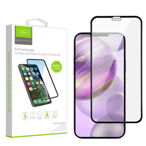 Airium Full Coverage Tempered Glass Screen Protector for Apple iPhone 12 Pro Max (6.7) - Black