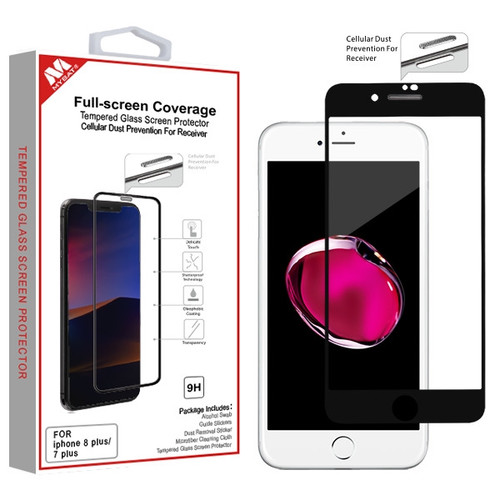 MyBat Full-screen Coverage Tempered Glass Screen Protector (Cellular Dust Prevention For Receiver) for Apple iPhone 8 Plus/7 Plus - Black