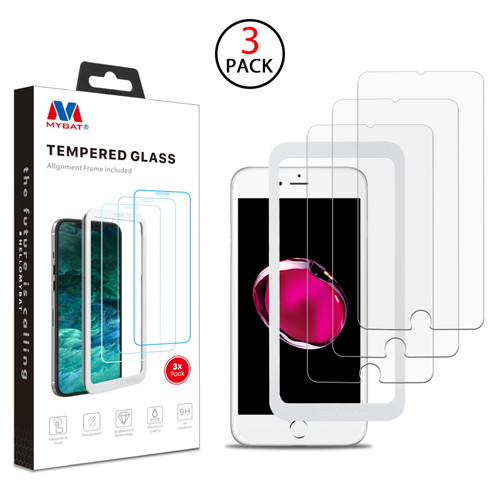 MyBat (3 Pack)Tempered Glass Screen Protector with Installation Frame for Apple iPhone 8 Plus/7 Plus / 6s Plus/6 Plus - Clear